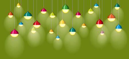 luminous: Illustration of many colorful luminous lamps