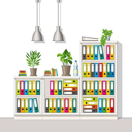 Illustration of interior equipment of a modern home office