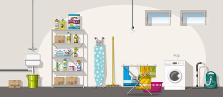 basement: Illustration of interior equipment of a basement, panorama Illustration