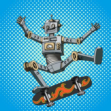 Pop Art illustration of a robot on a skateboard