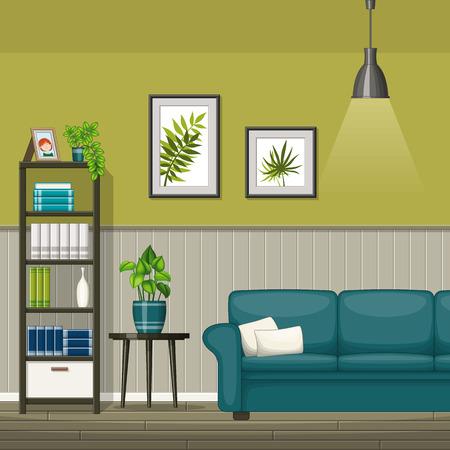 Illustration of interior equipment of a modern living room