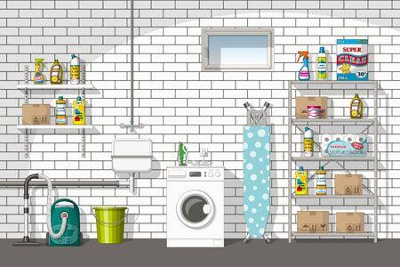 basement: Illustration of interior equipment of a basement Illustration