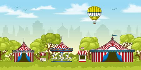 Illustration of a colorful circus in summer