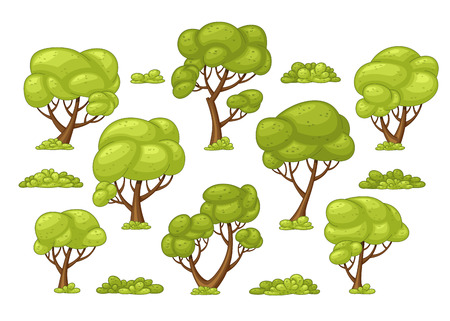 ad_033 Set of different trees and bushes Illustration
