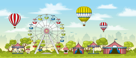 Illustration of an amusement park in summer Illustration