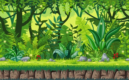 Seamless cartoon nature background. Vector illustration with separate layers. Vettoriali