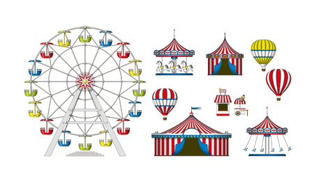 Set of different colorful attractions Illustration