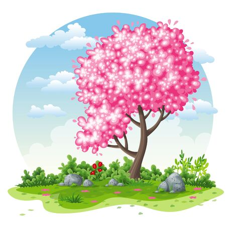 Spring nature cartoon background