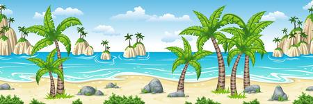 Illustratie van een tropisch kustlandschap met palmen, panorama Stockfoto - 74226340