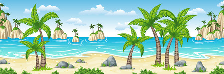 Illustration of a tropical coastal landscape with palms, panorama