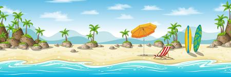 Illustratie van een tropisch kustlandschap met strandstoel, paraplu en surfplank Stock Illustratie