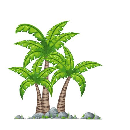 Illustration of different palms with stones on white background. Illustration