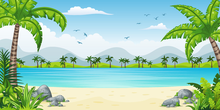 Illustration of a tropical coastal landscape Illustration