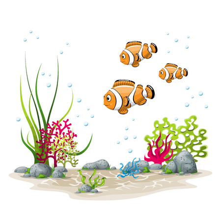 Illustration of an underwater landscape with fish and plants 版權商用圖片 - 75543015