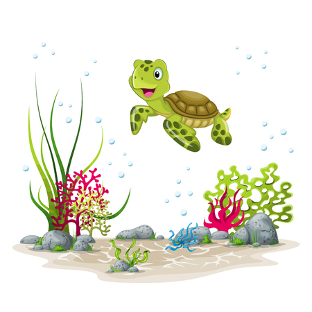 Illustration of an underwater landscape with turtle and plants 向量圖像