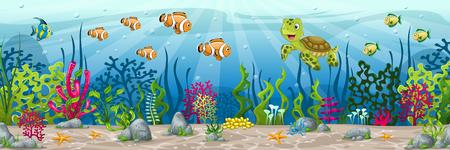 Illustratie van een onderwater landschap met dieren en planten