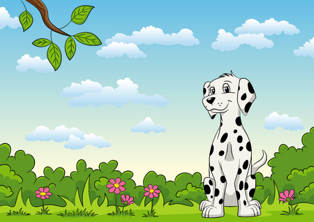 Sweet Dalmatian sits on a flower meadow Illustration