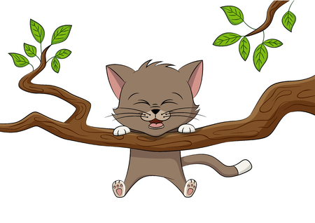 Little cat ist playing on a branch Illustration