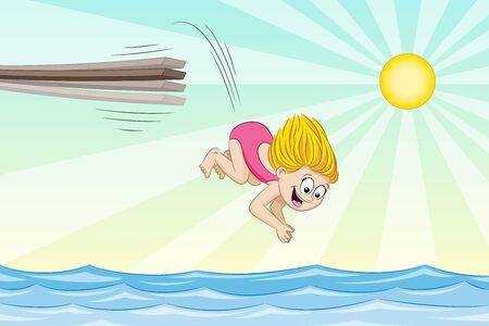 jumping into water: Little girl is jumping from a jumpboard into the water.