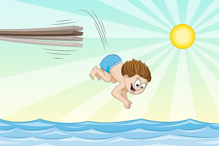 Little boy is jumping from a jumpboard into the water.
