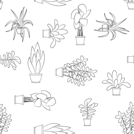 Seamless cartoon nature background with different house plants