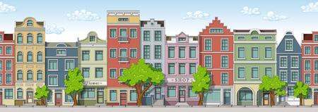 원활한 만화 도시 배경 일러스트