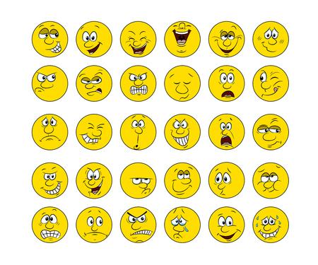 Sammlung von 30 Smiley Gesichter, Hand zeichnen