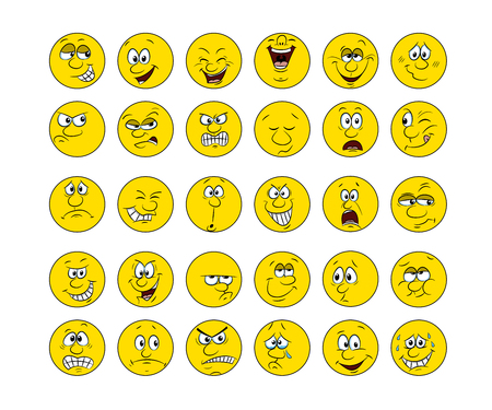 Collection of 30 smiley faces, hand draw