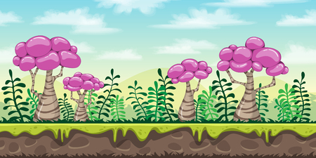 layers levels: A Seamless cartoon nature background. Vector illustration with separate layers. Illustration