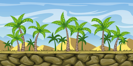 A Seamless cartoon nature background. Vector illustration with separate layers. Illustration
