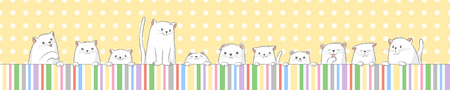 Banner with some white cut cats