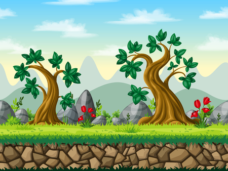 Seamless cartoon nature background. Vector illustration with separate layers. Illustration