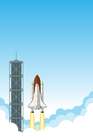 Space shuttle launch. Background with room for text. Illustration