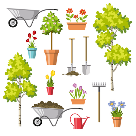 Set of different gardening tools on plain presentation. Stock Illustratie