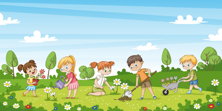 Cute children work in the garden. Funny cartoon character.  Illustration