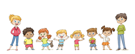 Cute children standing in a row and wave. Funny cartoon character Isolated on white background. Illustration