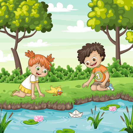 Two children playing with a boat in a lake