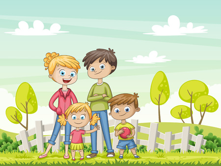 Jung family in the garden. Funny cartoon character.