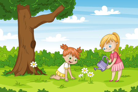 Two girls in the garden. Funny cartoon character.  Vettoriali