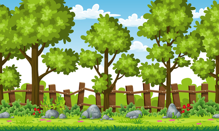 Rual summer landscape with trees and stones, vector illustration