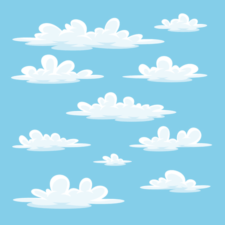 Collection of some different cartoon clouds.
