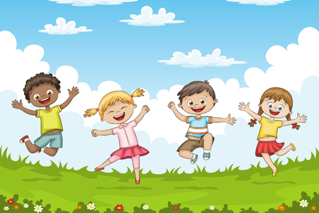 Children jumping on a meadow.