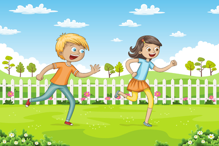 Two children are running through a park
