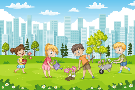 Children are planting flowers in a park.