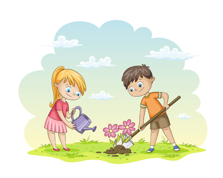 Two children are planting flowers. Illustration