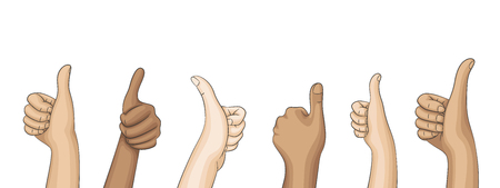 Many hands of people holding thumps up. Isolated on white background.