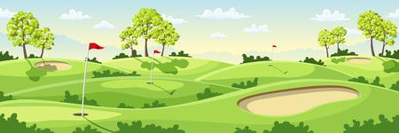旗、緑と砂のバンカーと田舎のゴルフコース。