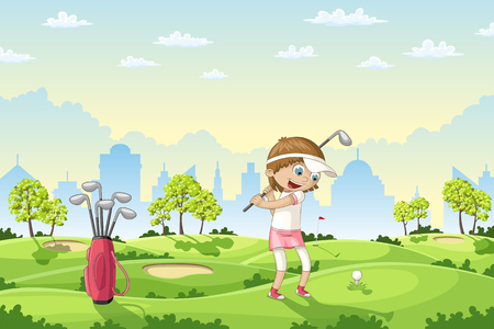Girl plays golf on a golf course, vector illustration