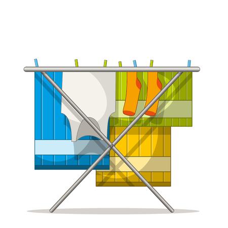 Kleiderständer mit Wäsche . Getrennt auf weißem Hintergrund