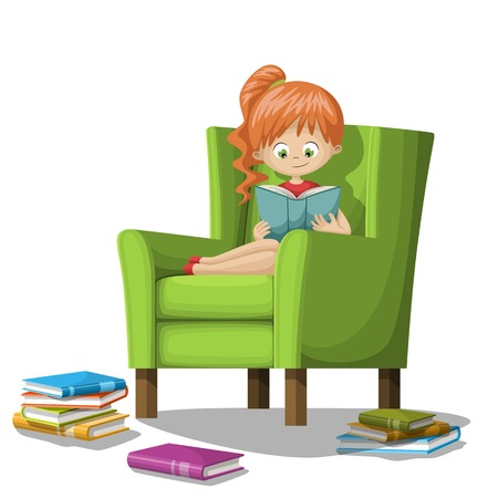 Girl reading books on armchair. Isolated on white background.